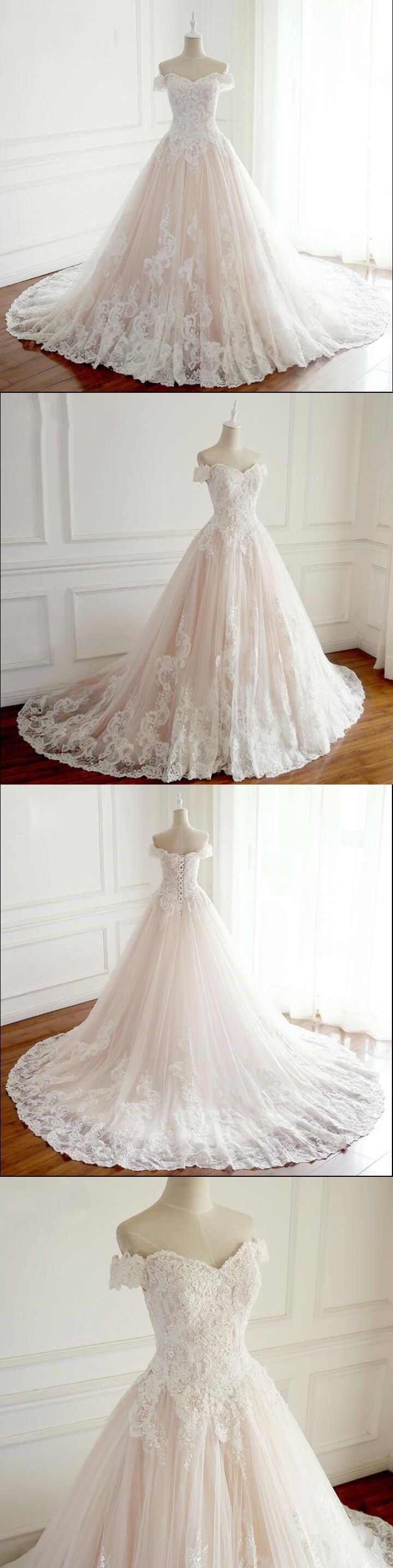 Off shoulder aline princess wedding dresses sparing bridal