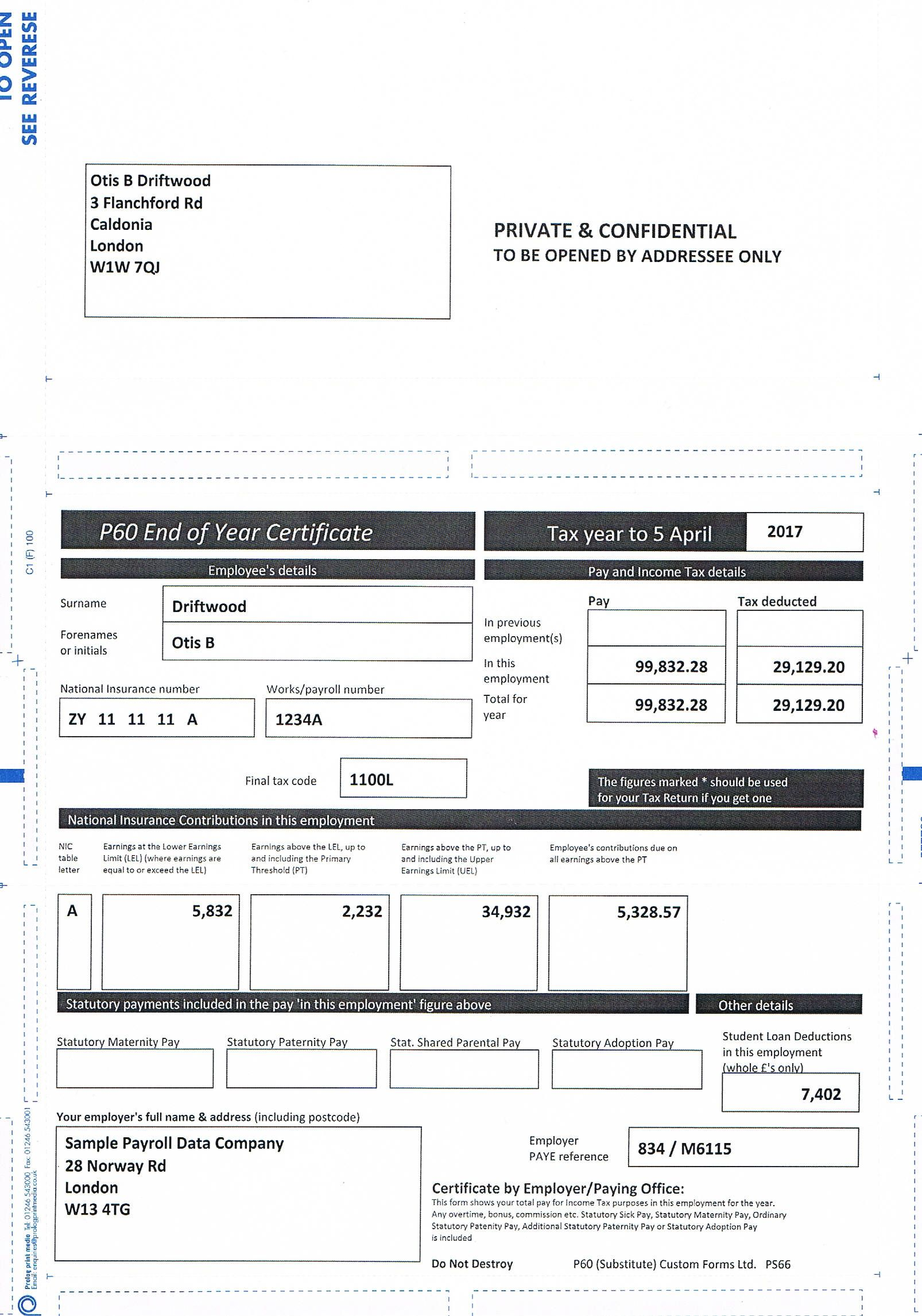 Top of the Range of Payslips & P60's. Get Same day Proof