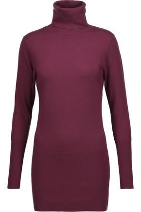 AUTUMN CASHMERE WOMAN MERINO WOOL-BLEND TURTLENECK SWEATER BURGUNDY.  #autumncashmere #cloth #