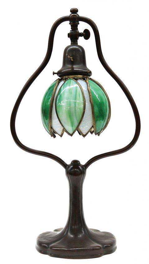 Handel Bronze Harp Table Lamp 811 1pm Debbies Art Deco
