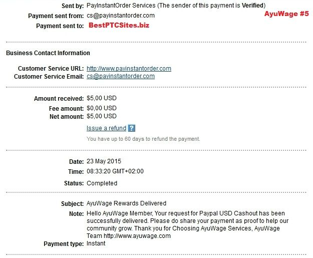 AyuWage Payment No5   http://bestptcsites.biz/