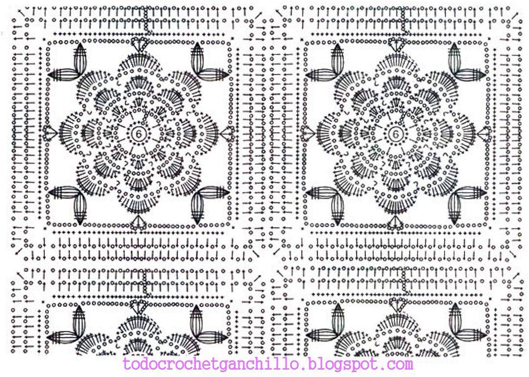 patron-rosa.jpg (1080×769)   Patrones Crochet   Pinterest   Manta ...