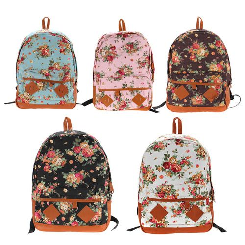 Pastoral Style Canvas Flower School Bags Students Bookbags ...