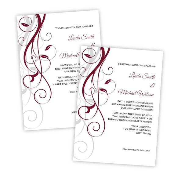 Wedding Invitation - Elegant Burgundy Swirls - DIY Printable - microsoft word templates invitations