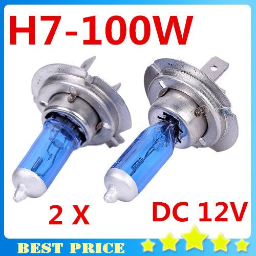 2pcs H7 12v 100w 6000k Xenon H7 Super White Halogen Car Light Source Bulbs Headlights Auto Lamp Parking Cars Click On The I Car Lights Bulb Car Headlights