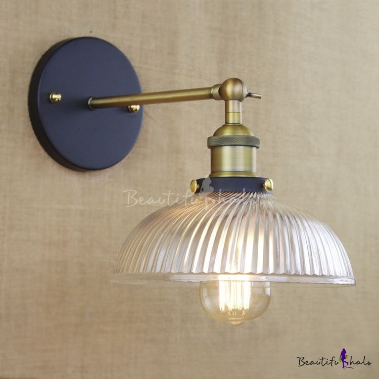 Vintage Style 1 Light Bowl Shade Led Wall Sconce With Ribbed Glass Glass Wall Lights Sconces Wall Sconces