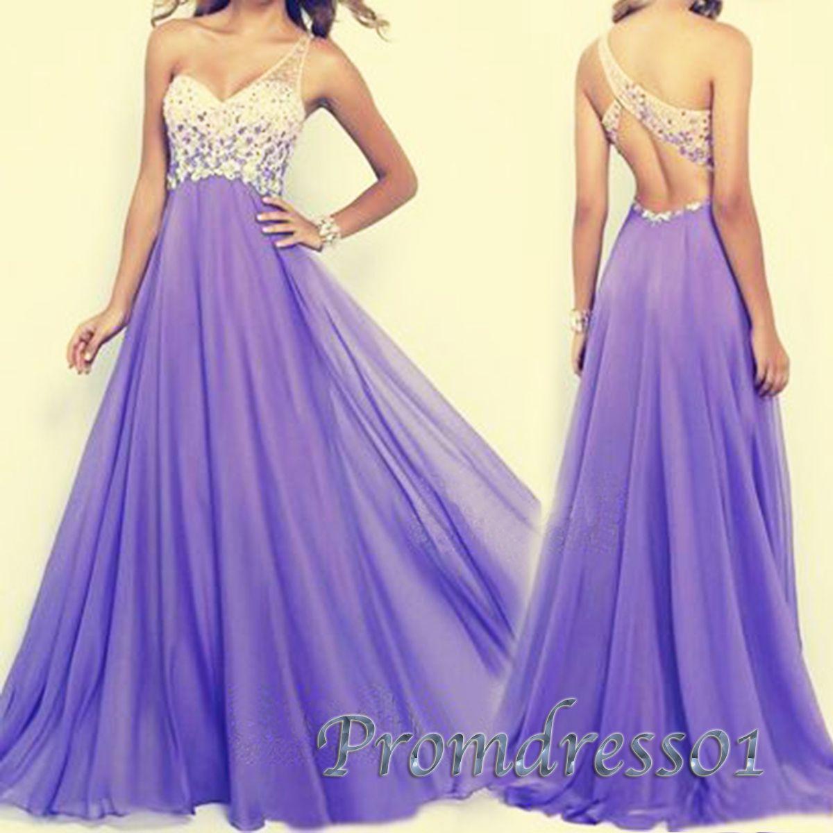 Unique purple one shoulder long prom dresses prom pinterest