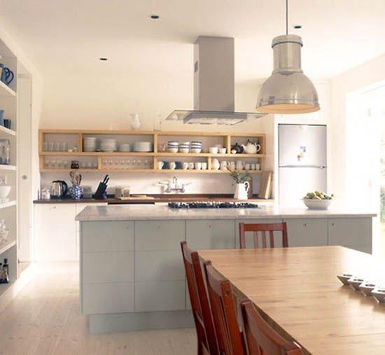 Retro Modern Kitchen Decorating Ideas Open Kitchen Shelves For