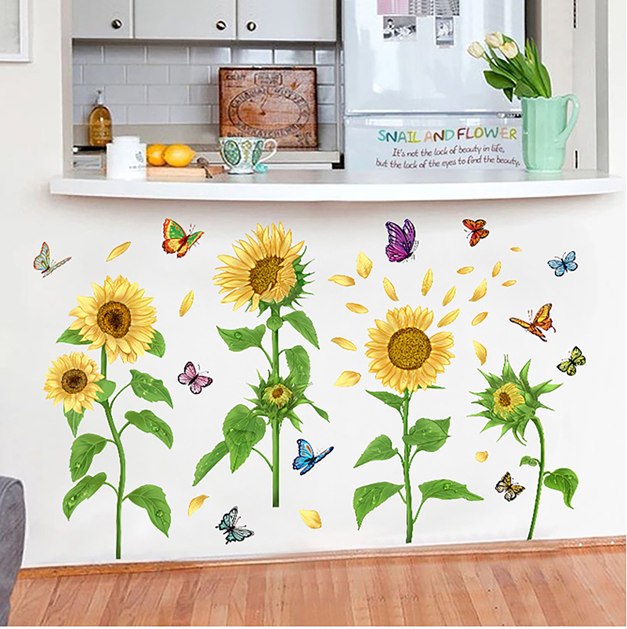 Best Beautiful Sunflower And Butterfly Wall Sticker Bedroom 640 x 480