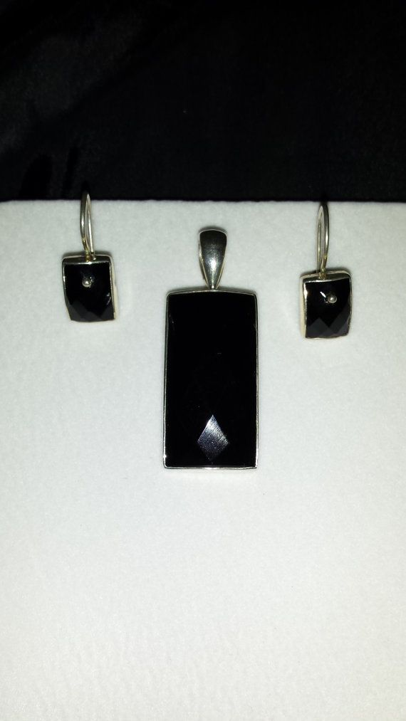 Sterling silver with black diamond cut stone by SecondChanceBling, $20.00