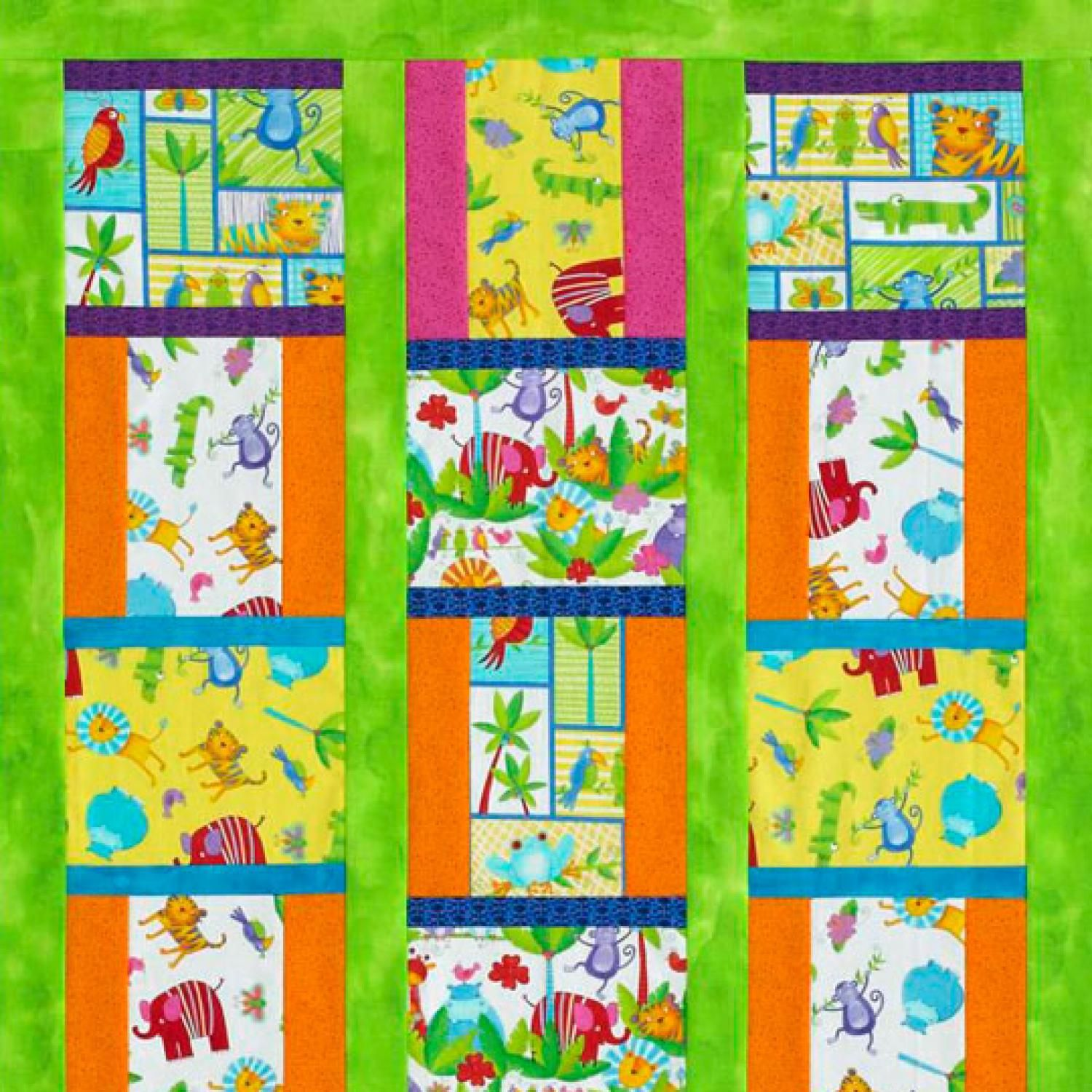 Animal-theme novelty prints from the Jungle Baby collection by ... : jungle theme baby quilt patterns - Adamdwight.com