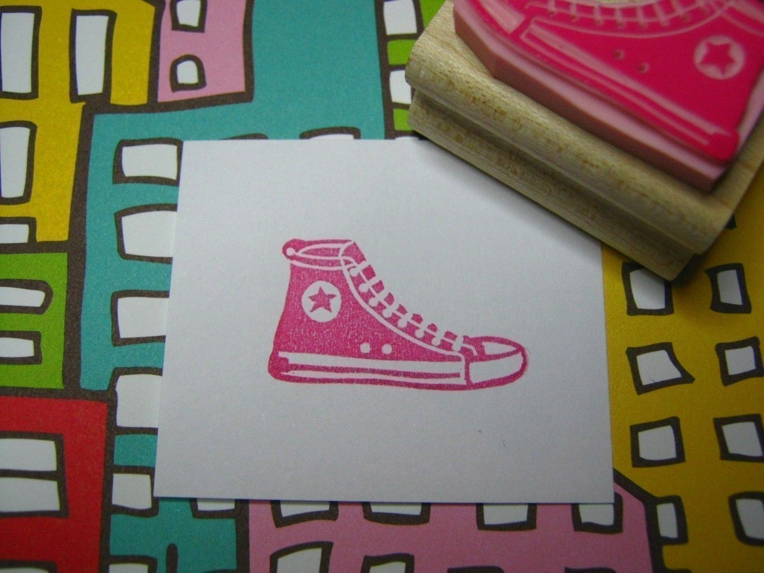 Basketball Boot Hand carved rubber stamp by by skullandcrossbuns