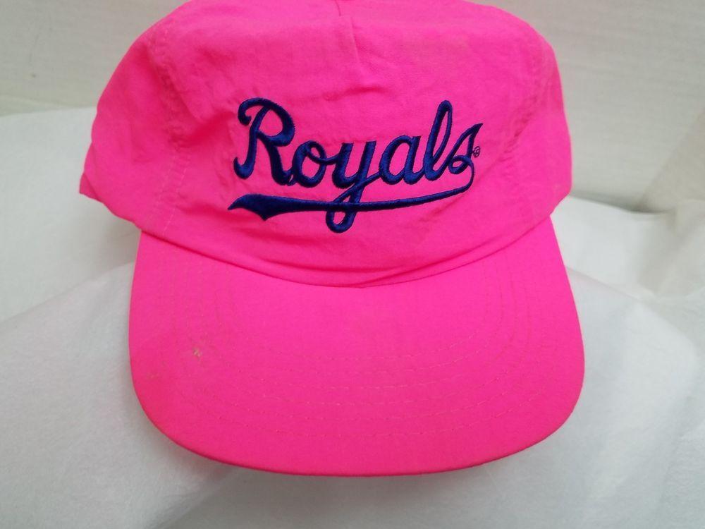 huge discount 26f3e bbc3c ... official store kansas city royals ladies cap hat script mlb pink nylon  vtg snapback annco 7b1d0