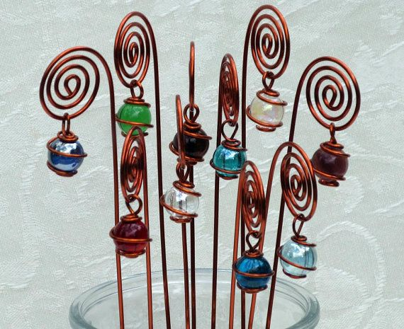 Spiral table number photo or card holders plant picks set of 10 handmade spiral table number photo or card holders plant picks set of 10 in copper with wire wrapped glass marble prisms by tapestryarabianfarm on etsy greentooth Gallery
