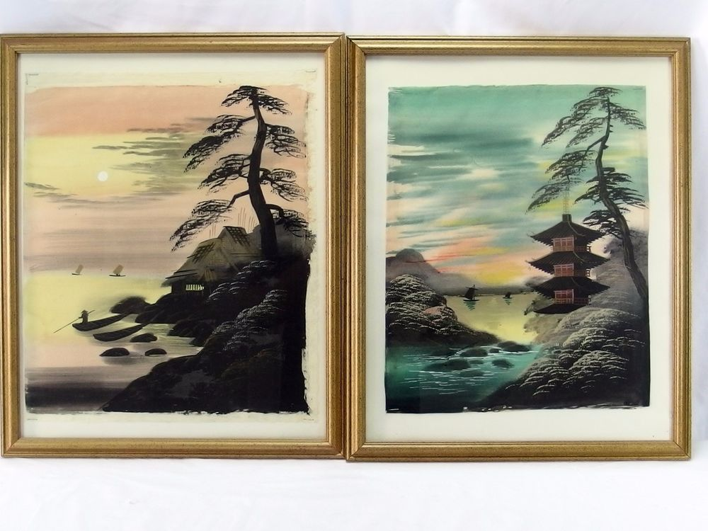 Pair Of Vintage Japanese Watercolor Paintings On Silk Scenic