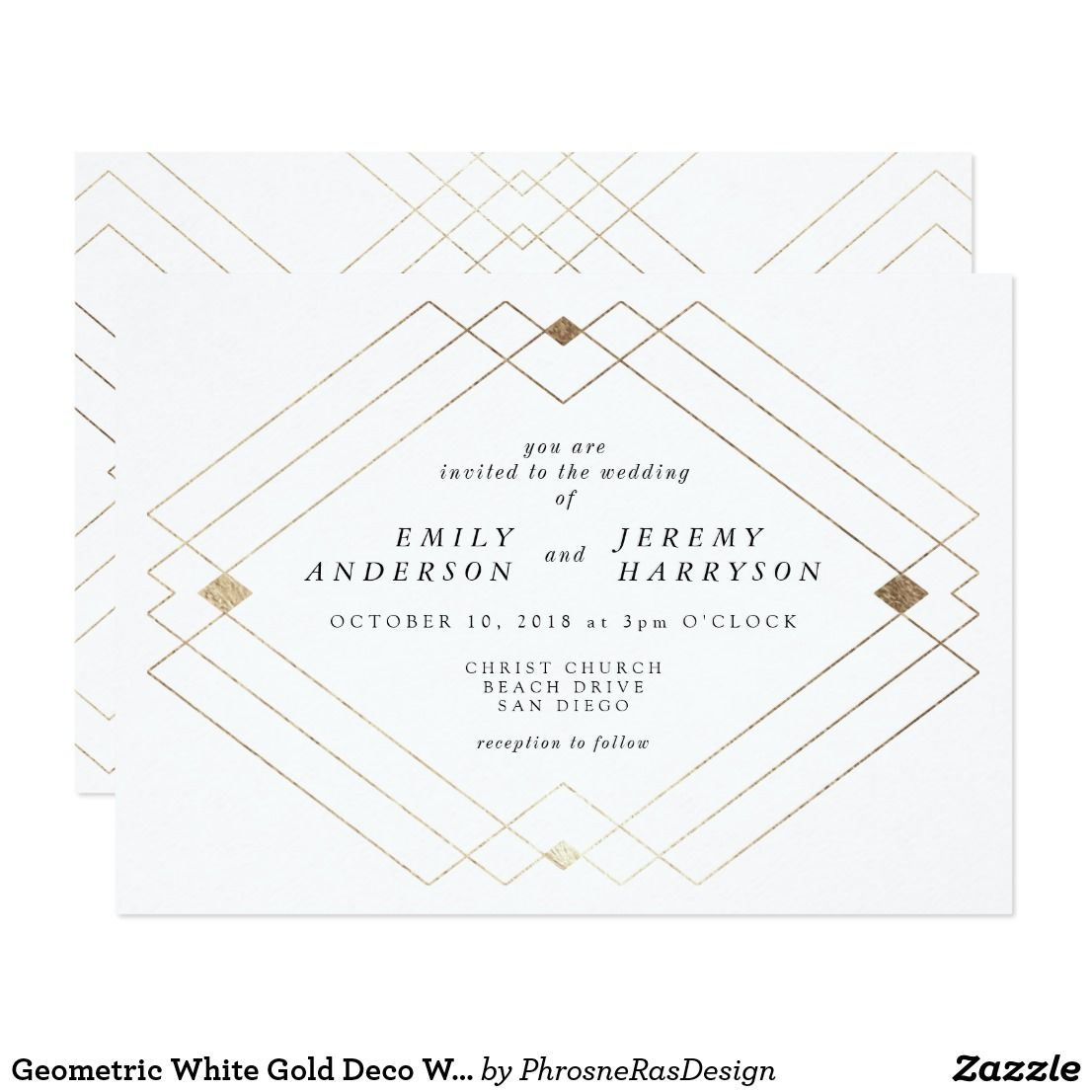 Geometric White Gold Deco White Wedding Invitation