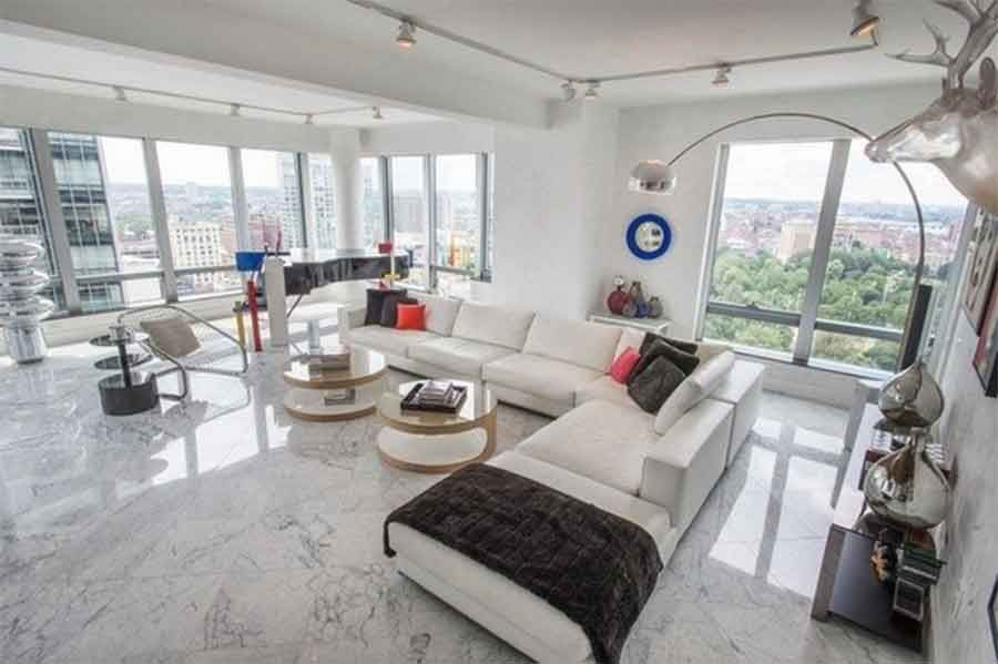 Marble Tile Decor Ideas Marble Floor Contemporary Living Room White