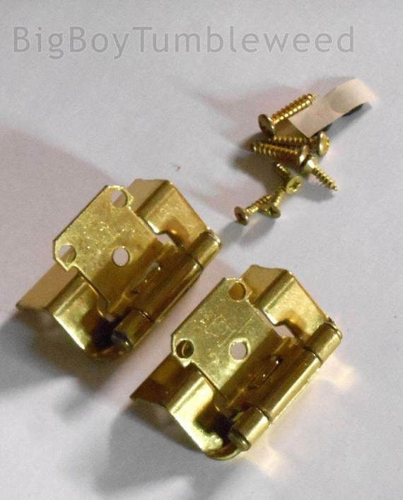 2 PC Belwith Cabinet Hinges Face Frame Polished Brass Semi Concealed Full  Wrap Belwith FKI Hardware