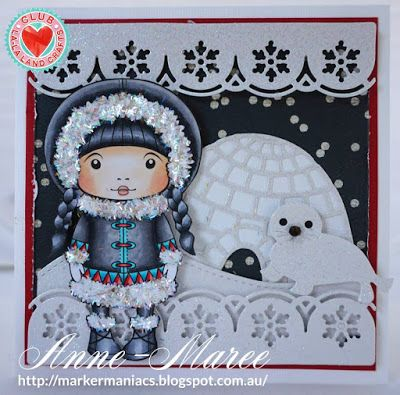 From our Design Team! Card by Anne-Maree Campbell featuring exclusive Inuit Marci, Winter Blessings stamp set and these Dies - Igloo, Seal, Snowflakes Scallops Border :-) Club La-La Land Crafts subscription details are here - http://lalalandcrafts.com/Club_La-La_Land_Crafts.html  Coloring details and more Design Team inspiration here - http://lalalandcrafts.blogspot.ie/2015/11/club-la-la-land-crafts-october-2015-kit.html