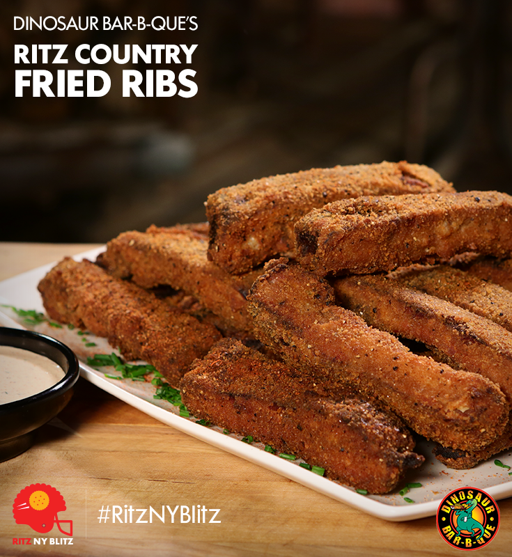 Ritz Country Fried Ribs With Zesty Buttermilk Ranch Dressing Created By Dinosaur Bar B Que Recipe Fried Ribs Recipe Recipes Beef Recipes Easy