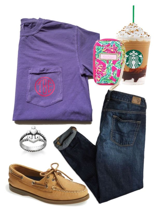 """""""school"""" by sofiaestrada ❤ liked on Polyvore featuring American Eagle Outfitters, Sperry, Lilly Pulitzer and Avery"""