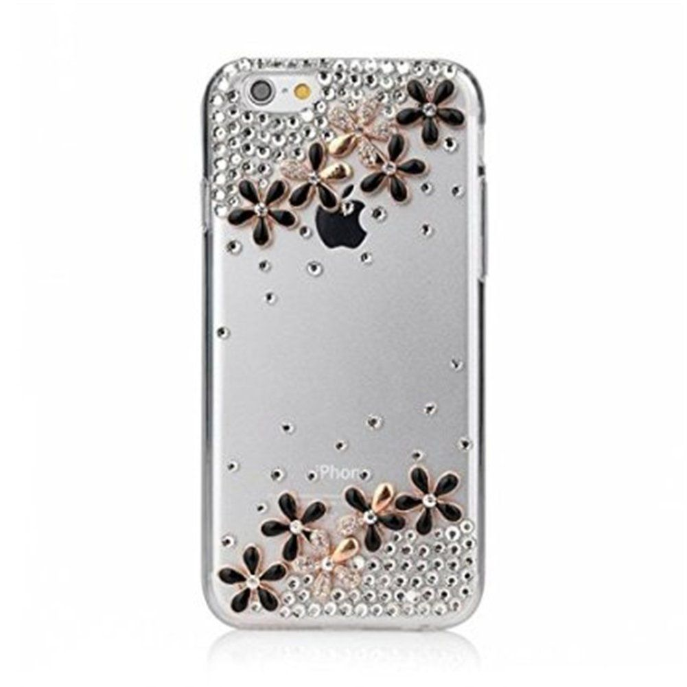 "ELENXS® iPhone 6S / iPhone 6 Case 3D DIY Flower Bling Sparkle Glitter Diamond Rhinestone Soft TPU Transparent Crystal Clear Case Cover For Apple iPhone 6S & iPhone 6 4.7"", Sakura Flower"