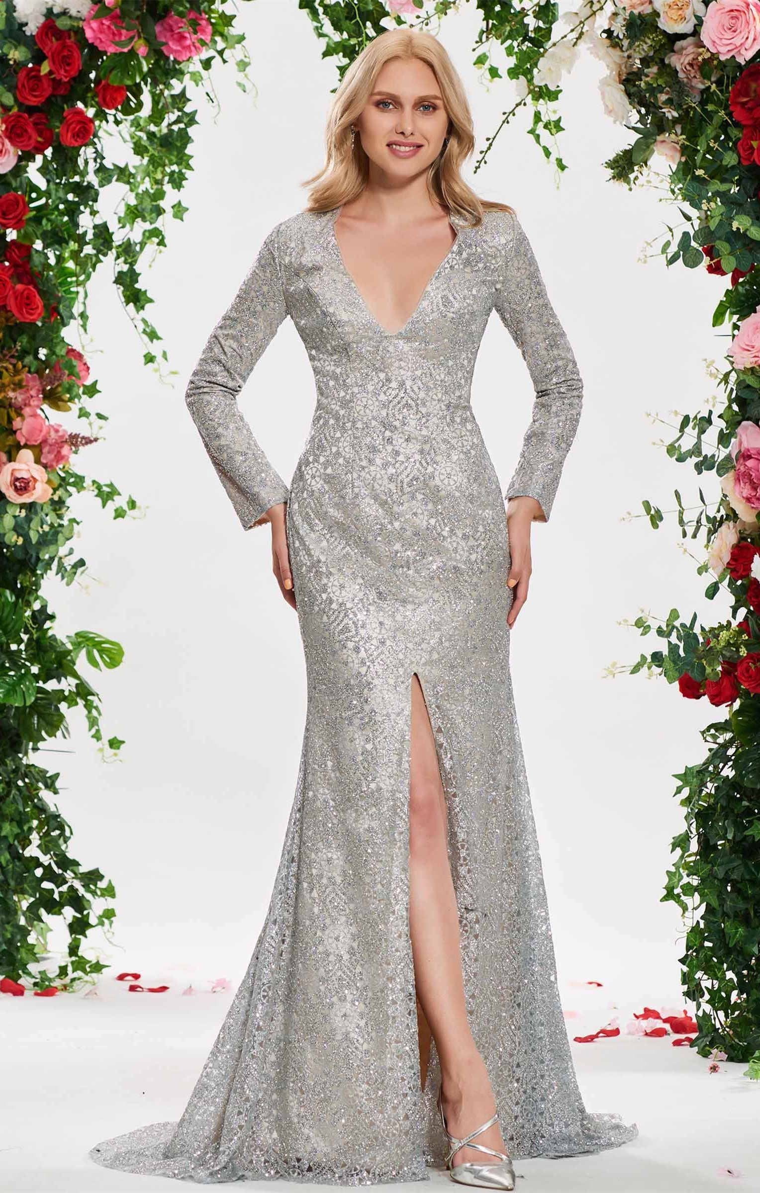 Vneck sequins mermaid long sleeve wedding dress married in