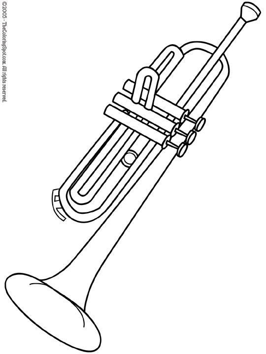 Trumpet free coloring pages of musical instruments for Trumpet coloring page
