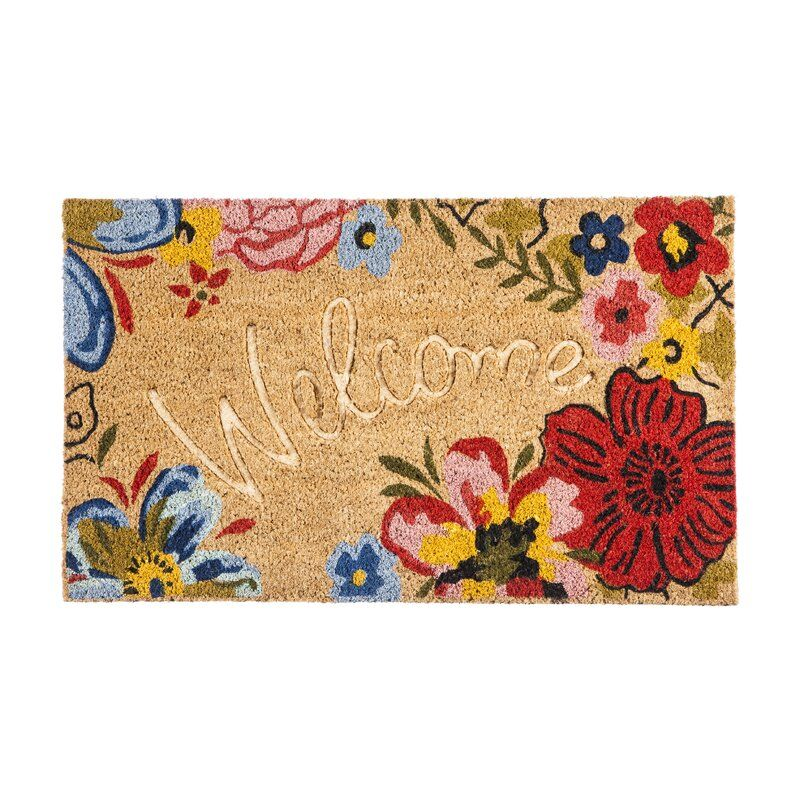 Sowers Floral Debossed Welcome 28 In X 16 In Non Slip Outdoor Door Mat Door Mat Welcome Mats Coir Mat