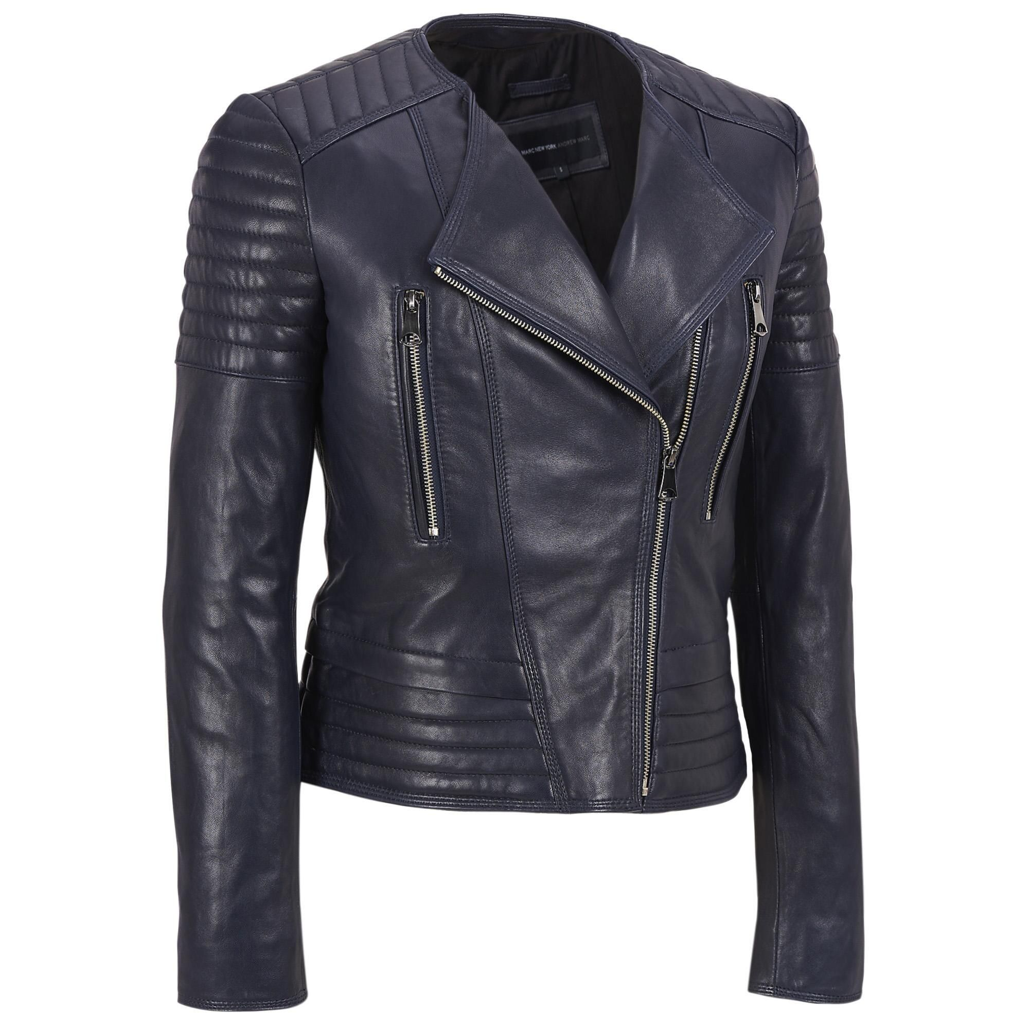 777415683037c Marc New York Asymmetrical Zip Collarless Leather Moto Jacket w Quilting