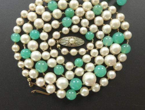 Antique-Art-Deco-8K-Gold-Genuine-Pearl-Chrysoprase-Bead-Necklace-Stud-Earrings