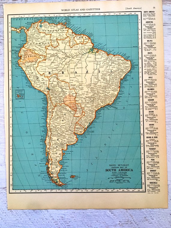 Map 9f America.1937 Map Of South America Venezuela Vintage Maps Antique