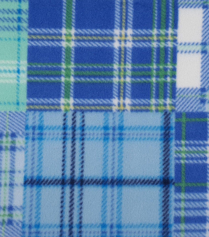 Anti pill fleece fabric uublue blocked madras plaid blue block