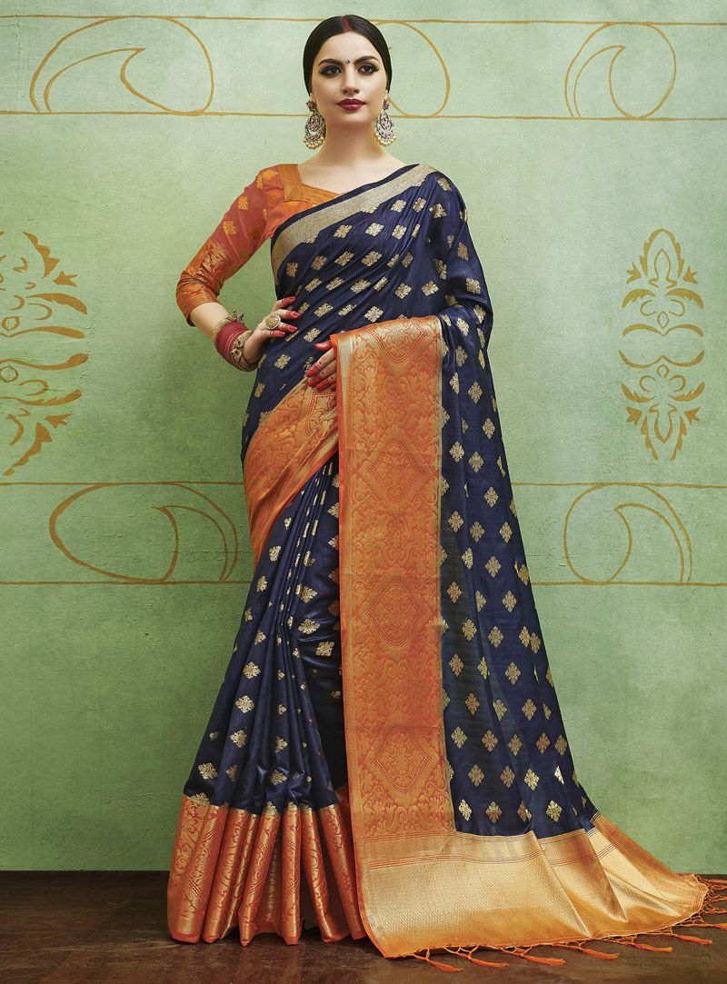 1b6a188f648b3 Navy Blue Banarasi Silk Festival Wear Saree 126295
