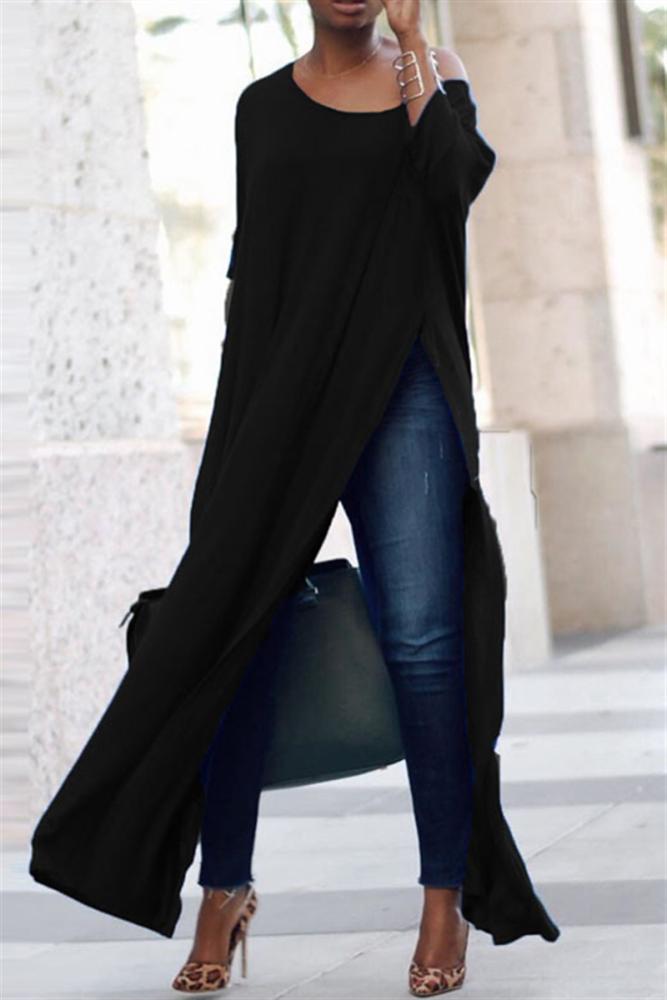 Blue Fashion Wide Neckline Split Long Tops