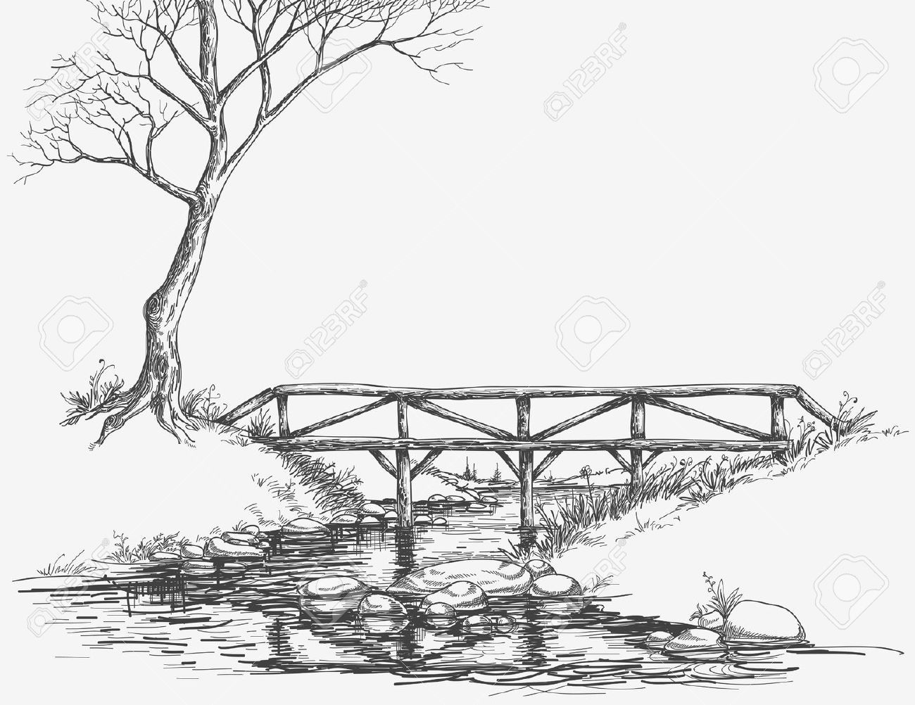 Pencil line drawing river google search spring pencil drawings