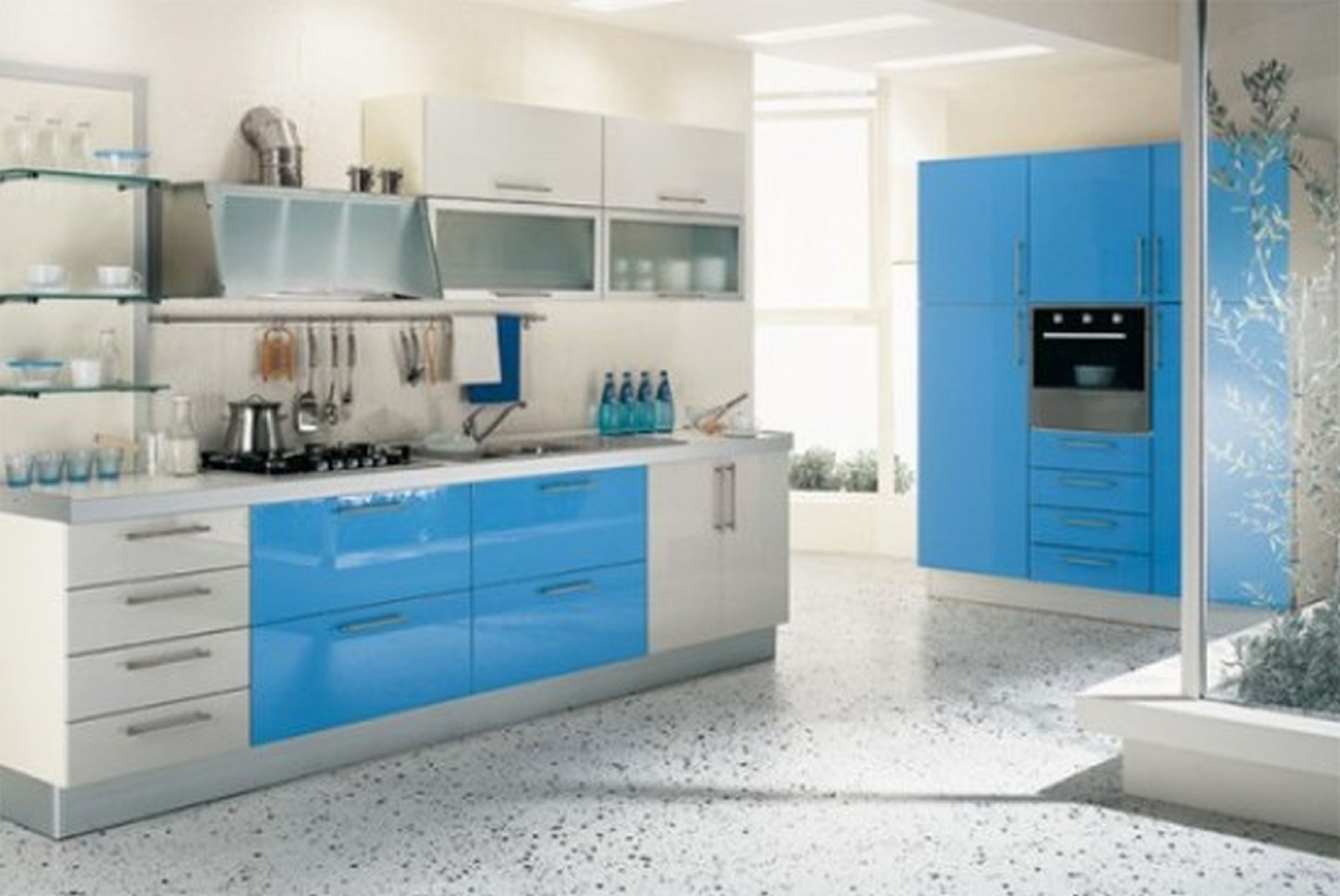 Loving the little splashes of blue. This white and sky blue kitchen ...
