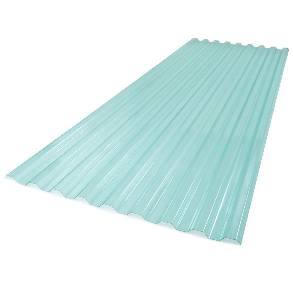 Suntuf 26 In X 6 Ft Polycarbonate Roof Panel In Sea Green 173520 The Home Depot Polycarbonate Roof Panels Roof Panels Corrugated Plastic Roofing