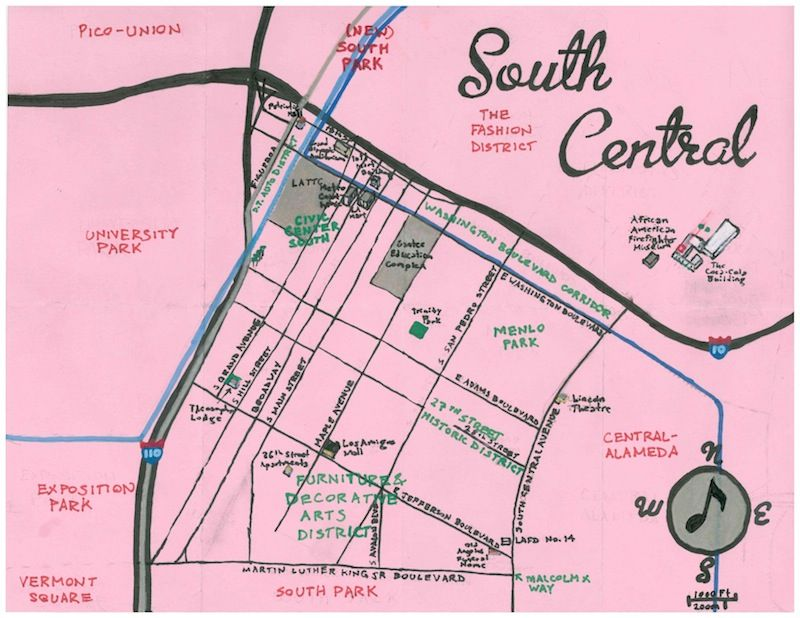 South Central So Named Because Of Its Association With South Central Avenue Starting At The African American Fir Los Angeles Map Park South Cartography Map