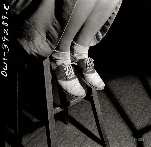 saddle shoes. 1943. Esther Bubley.  i just dreamed last night i got a pair of these-- i hated them of course when i had to wear them....