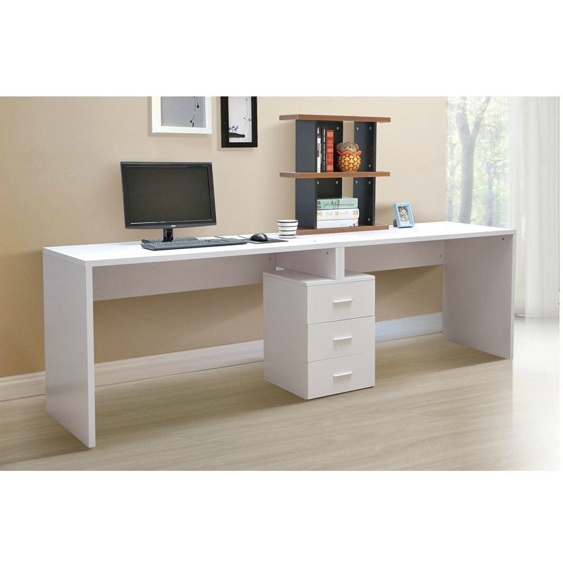 modern white single pedestal desk with small black bookcase and rh pinterest com