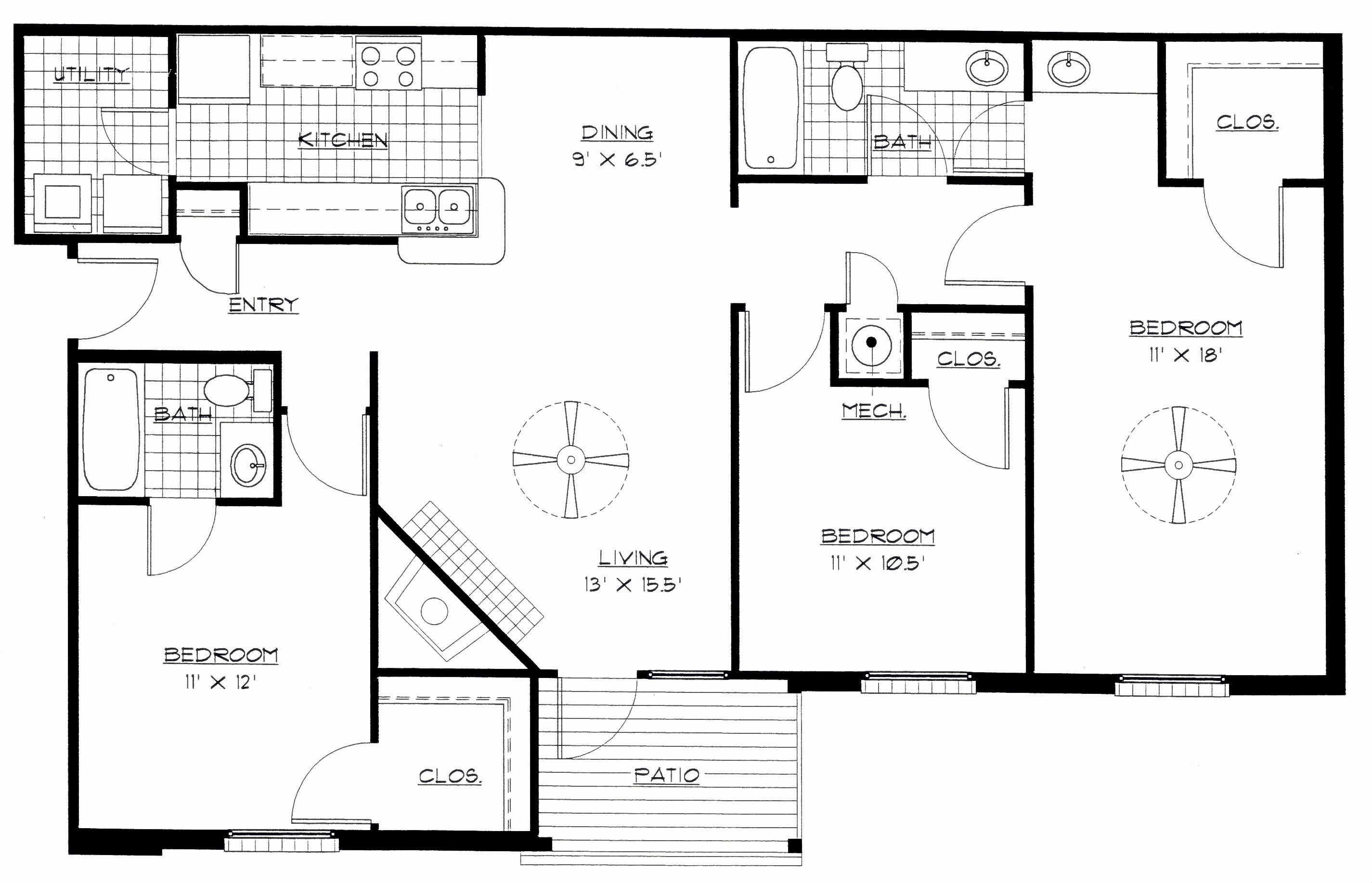 3 Bedroom Floor Plan With Dimensions Pdf Awesome House Designs Bedroom Floor Plans Floor Plan With Dimensions Three Bedroom House Plan