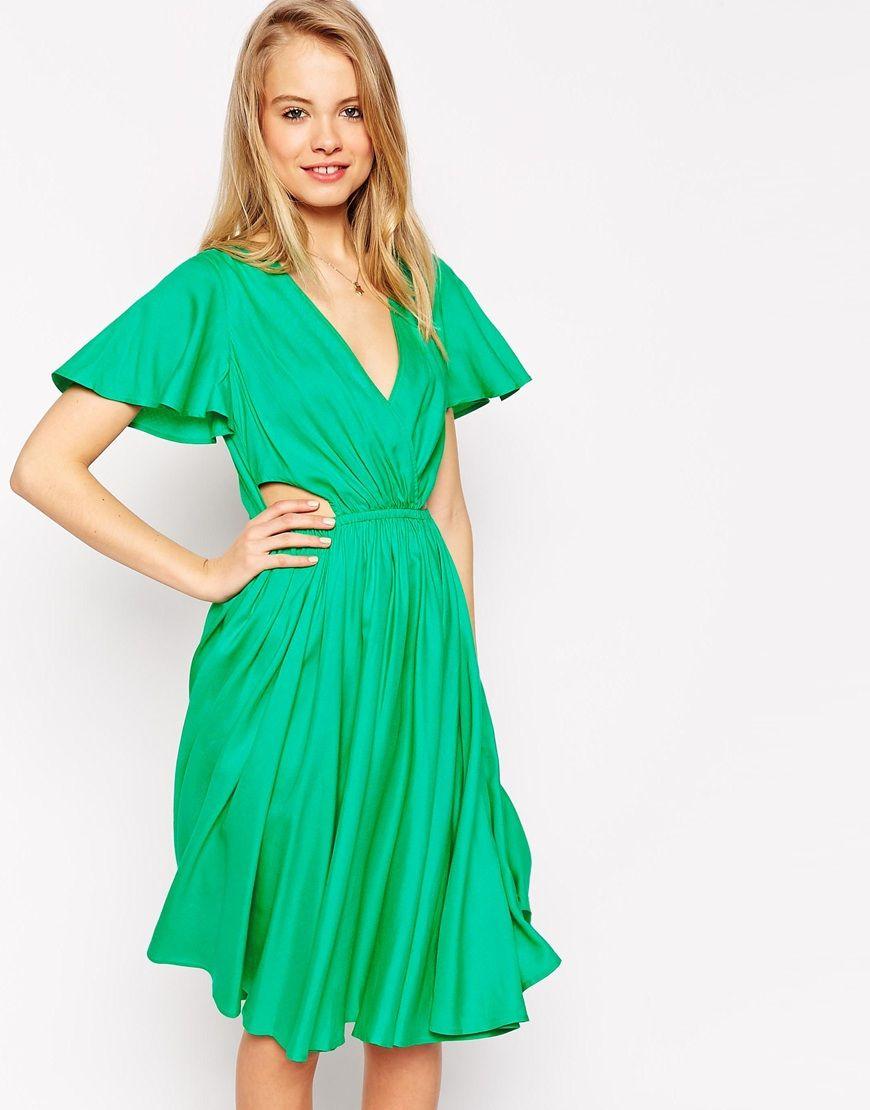 ASOS Flutter Sleeve Cutout Side Tee Midi Dress | My Style ...