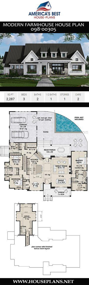 Modern Farmhouse House Plan 098