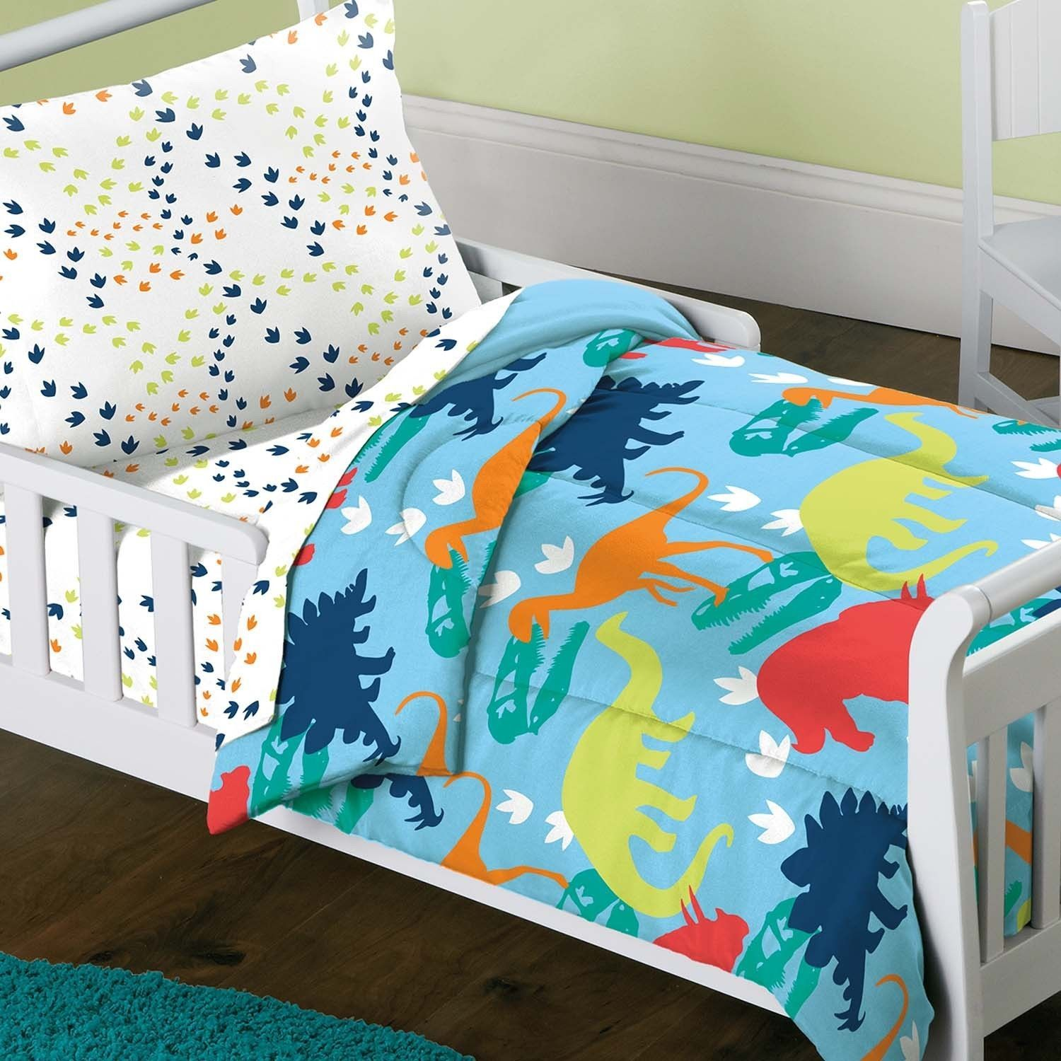 Dinosaur Prints 4Piece Toddler Bedding Set  Overstock Fascinating Toddler Bedroom Set 2018