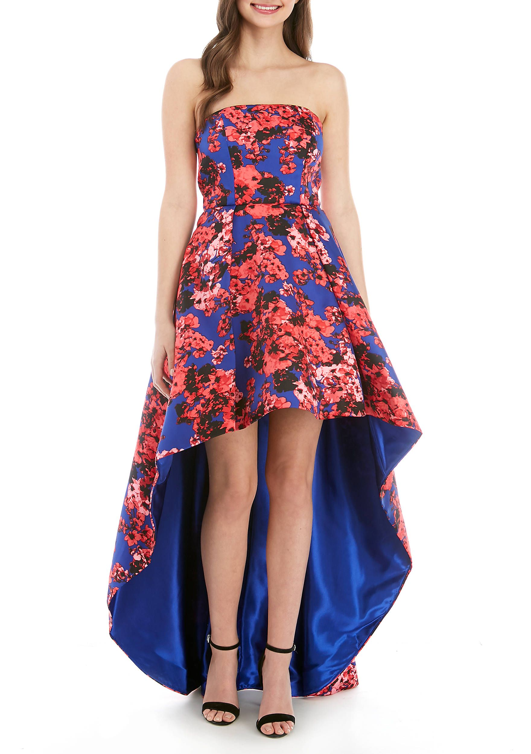 c48c81b1f B. Darlin Strapless Floral High Low Gown in 2019