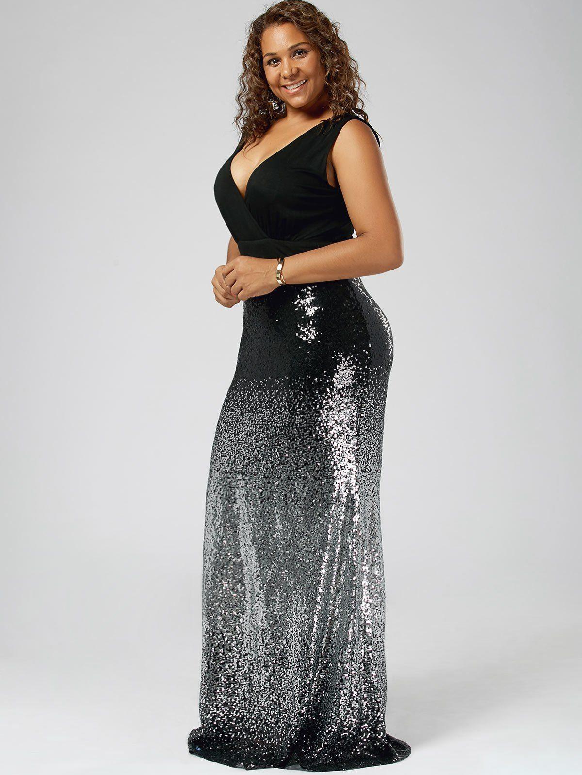 35d0716af14 Plus Size Maxi Fishtail Dress In Black