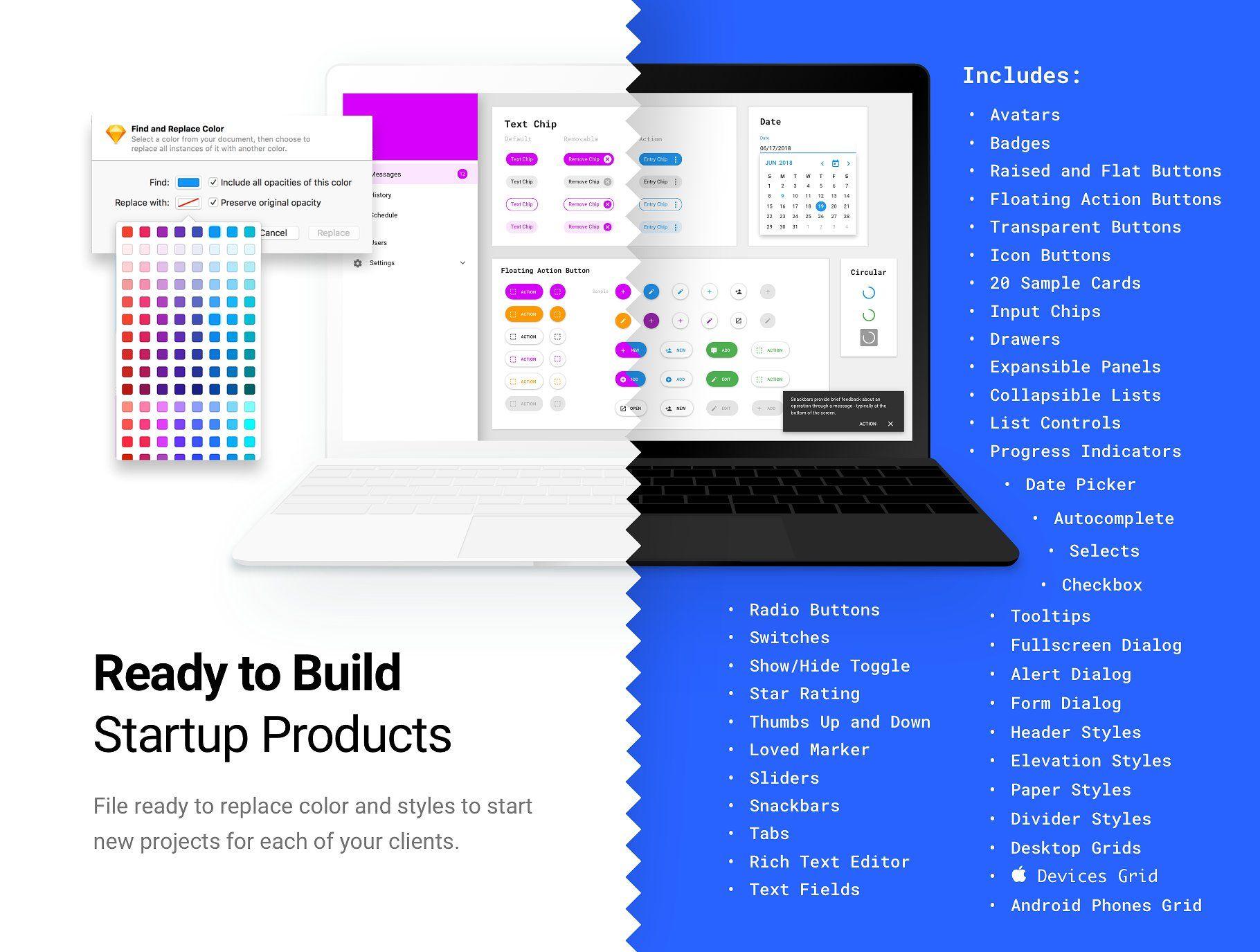 Material Design Kit for Web Apps Material design, Web