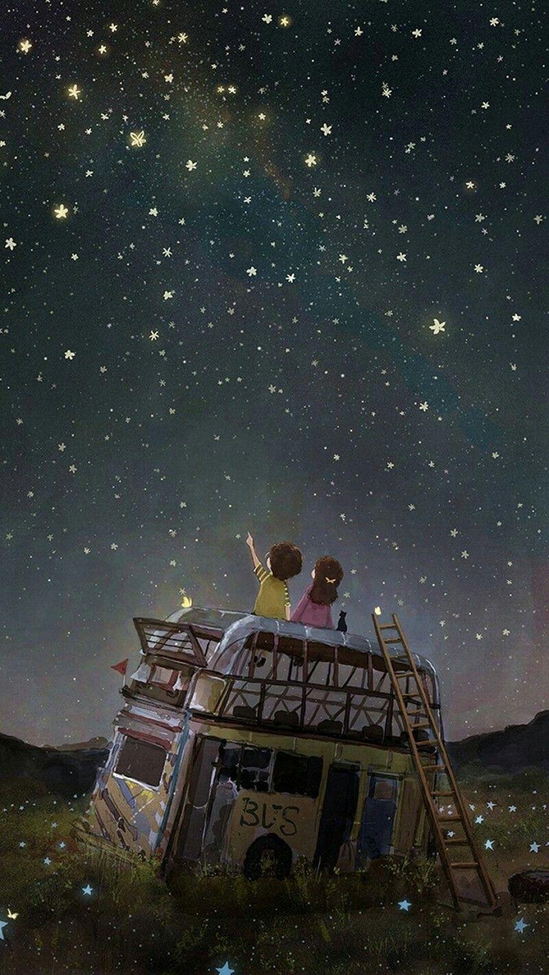 Starry Night Anime Scenery Scenery Wallpaper Cute Art Anime starry night wallpaper