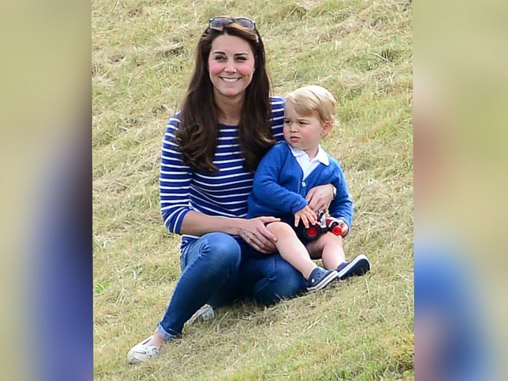 The Duchess of Cambridge and Prince George attend his father's polo match in Gloucestershire, United Kingdom, June 14, 2015.